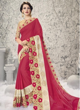 Ethnic Embroidered Work Faux Georgette Beige and Rose Pink Designer Contemporary Saree For Ceremonial