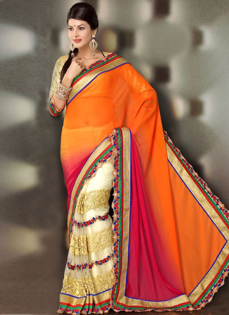 Ethnic Floral And Aari Work Half N Half Designer Saree