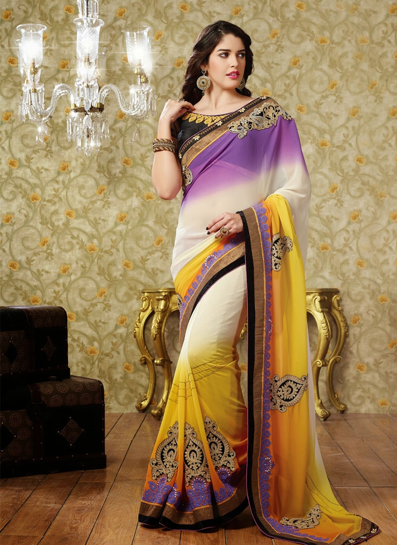 Ethnic Off White Yellow And Purple Color Party Wear Saree
