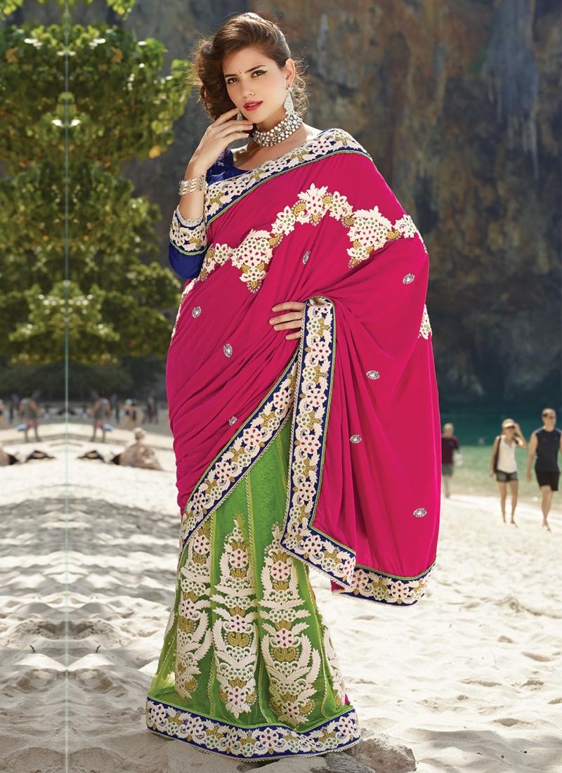 Ethnic Resham And Beads Work Lehenga Saree