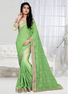 Ethnic Shimmer Georgette Embroidered Work Contemporary Style Saree For Ceremonial
