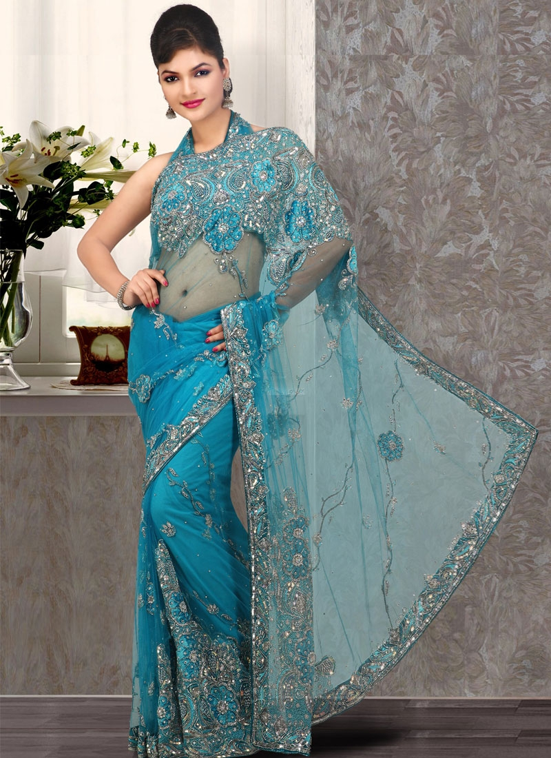Ethnic Teal Embroidered Net Saree