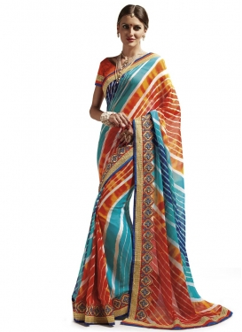 Exceeding Aqua Blue and Orange Contemporary Style Saree For Festival