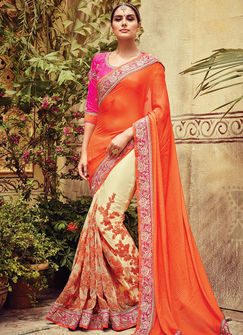 Exceeding Beads And Zari Work Half N Half Bridal Saree