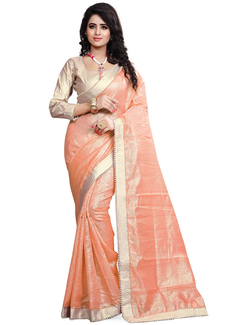 Exceeding Beads Work Crepe Jacquard Party Wear Saree