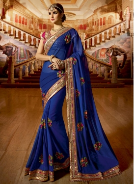 Exceeding Beads Work Faux Georgette Designer Contemporary Style Saree