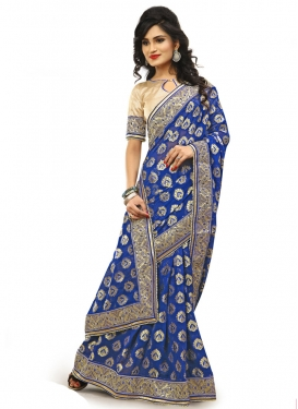 Exceeding Blue Color Beads Work Designer Saree