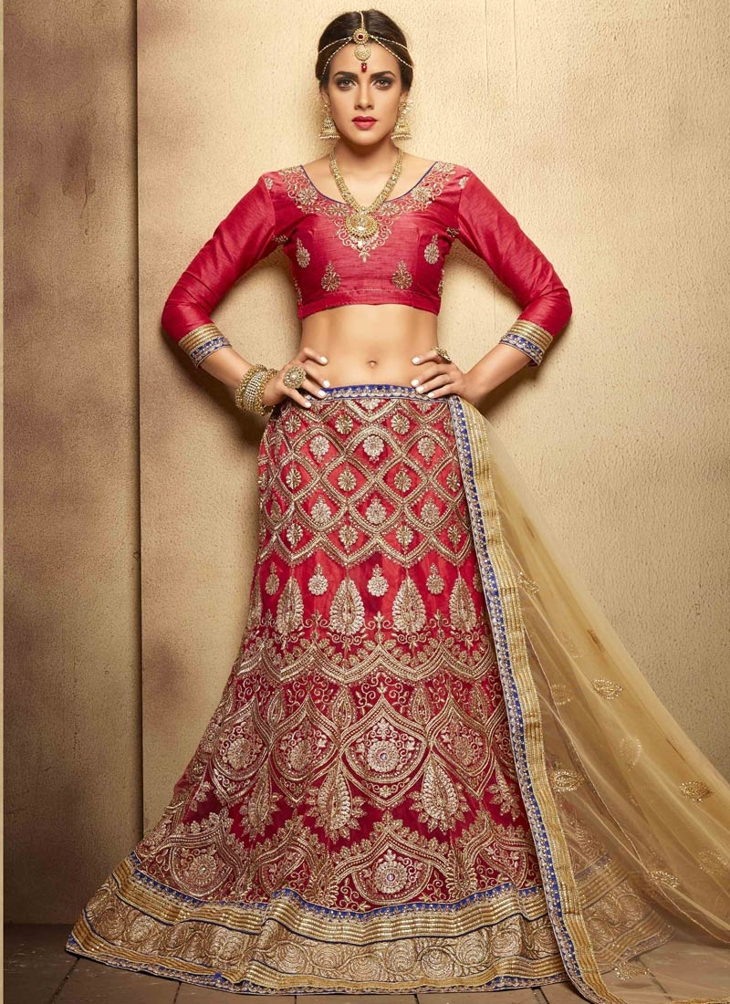Exceeding Boot And Resham Work Bridal Lehenga Choli