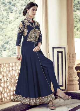 Exceeding Booti Work Faux Georgette Ankle Length Designer Suit For Ceremonial