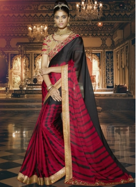 Exceeding Chiffon Satin Embroidered Work Contemporary Style Saree