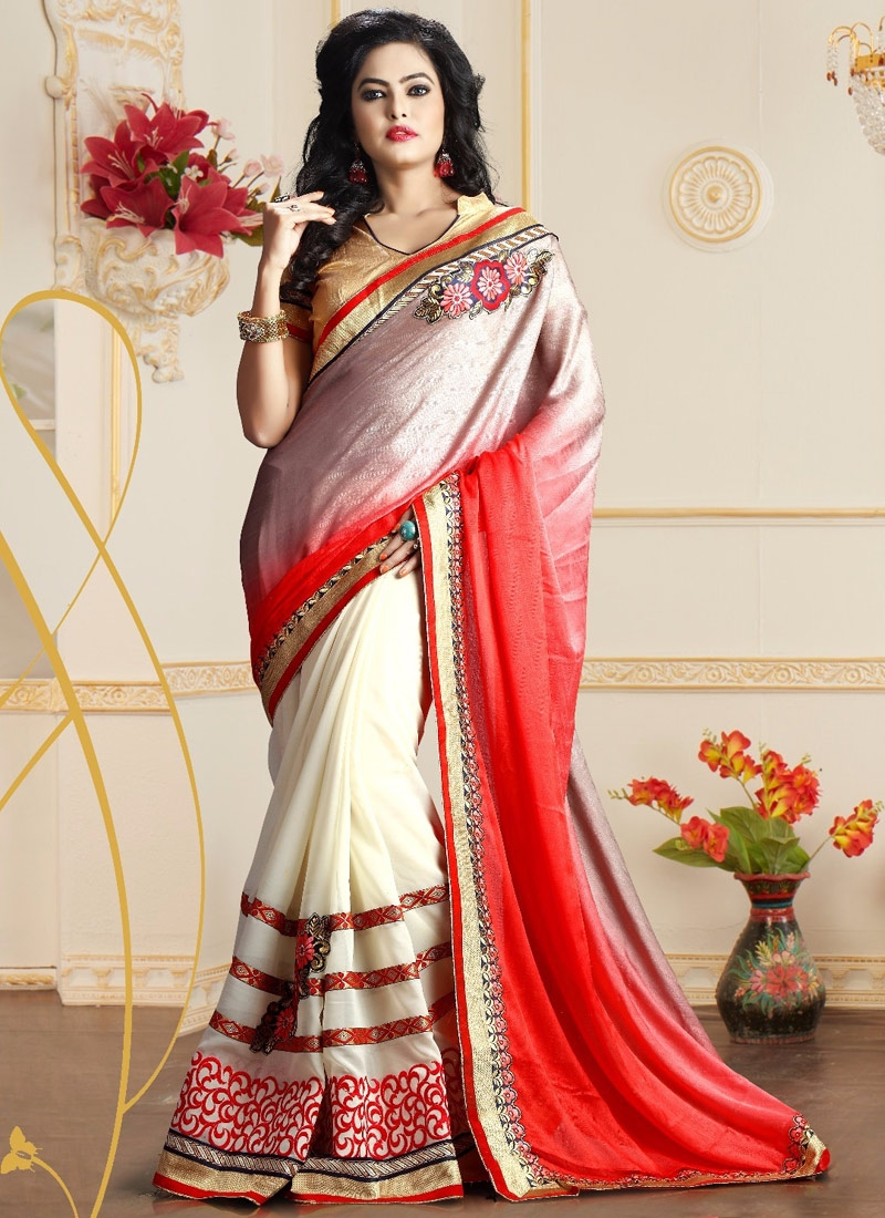 Exceeding Crepe Jacquard Half N Half Party Wear Saree