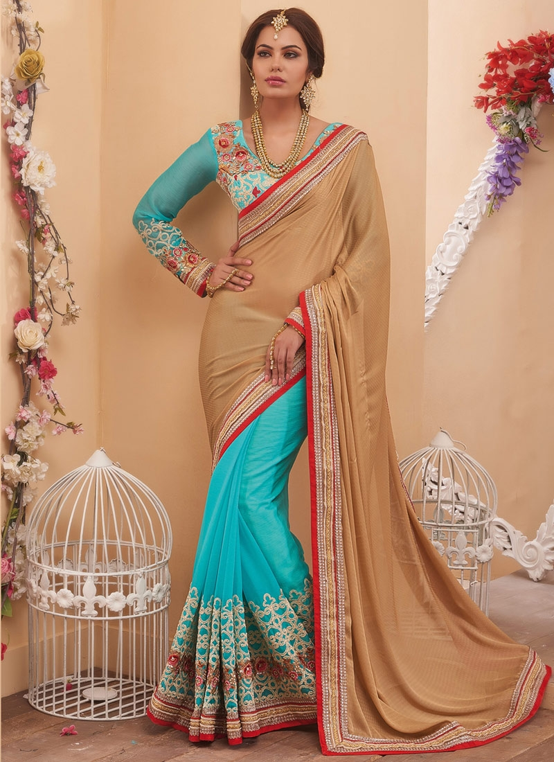 Exceeding Crepe Silk Sequins Work Half N Half Wedding Saree