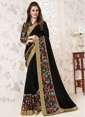 Exceeding Digital Print Work Faux Georgette Trendy Saree For Festival