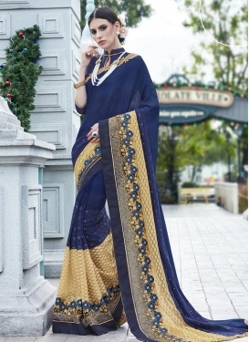 Exceeding Embroidered Work  Faux Georgette Designer Contemporary Saree