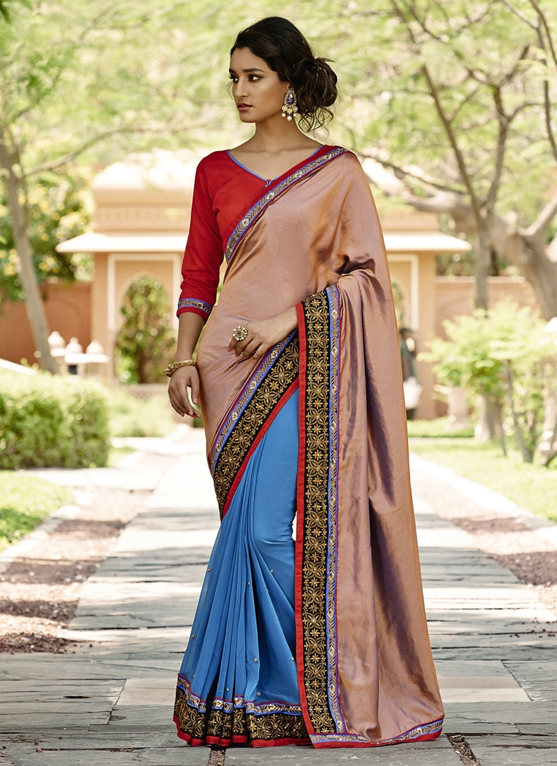 Exceeding Faux Georgette Half N Half Party Wear Saree