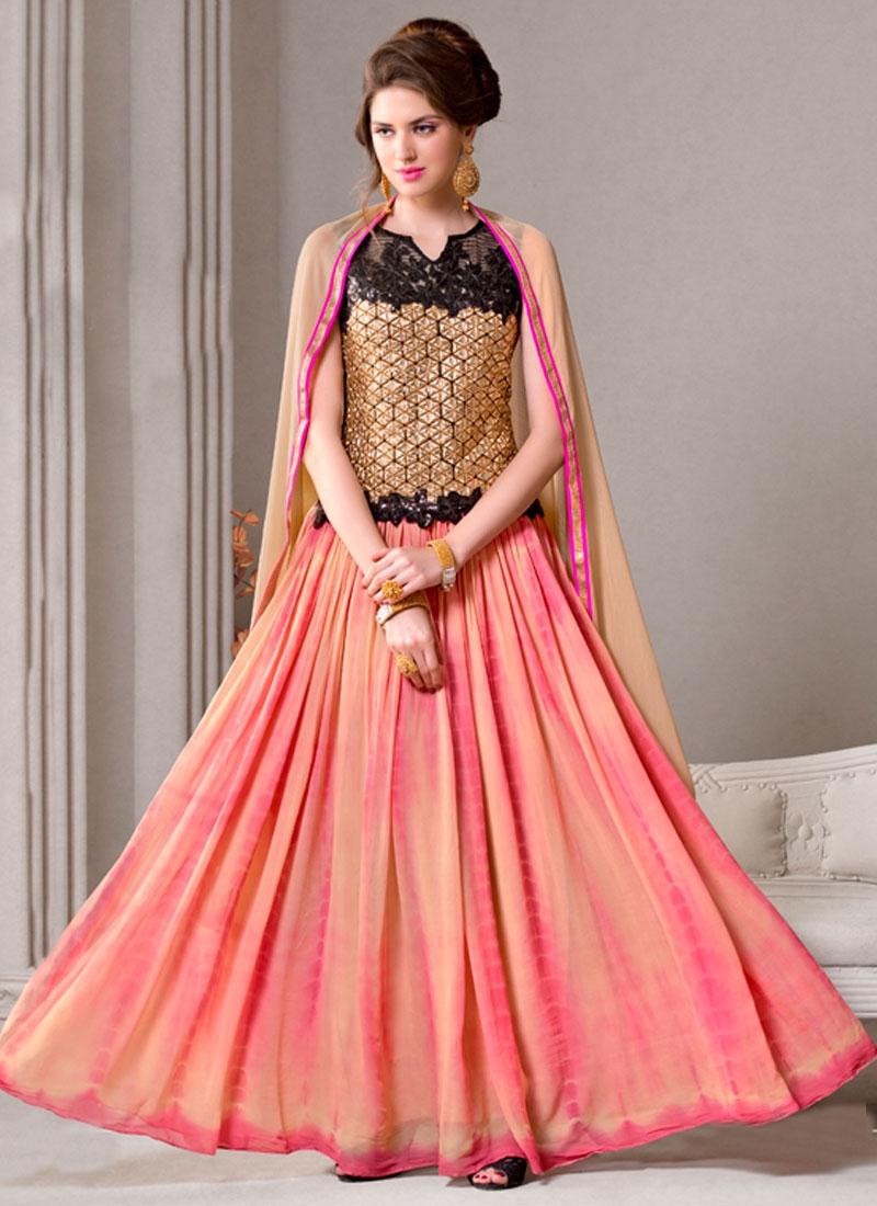 Exceeding Faux Georgette Long Length Designer Salwar Suit