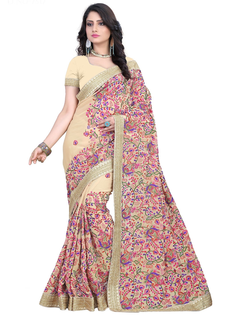 Exceeding Faux Georgette Resham Work Wedding Saree