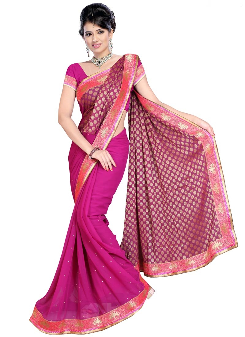 Exceeding Fuchsia Color Stone Work Party Wear Saree