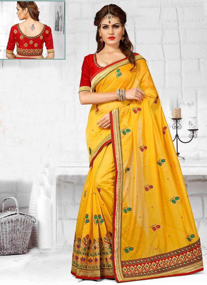 Exceeding Gold Color Stone Work Wedding Saree