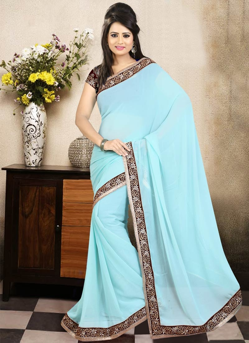 Exceeding Lace Work Faux Georgette Party Wear Saree