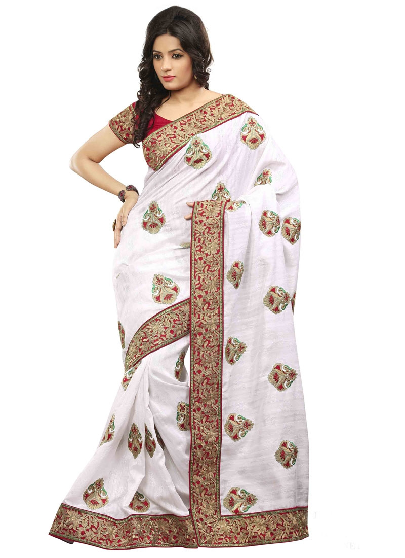 Exceeding Lace Work Jacquard Silk Designer Saree