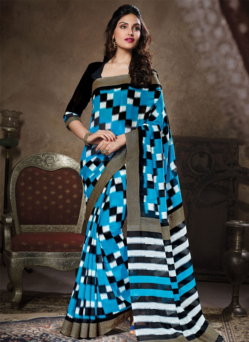 Exceeding Light Blue Color Art Silk Casual Saree