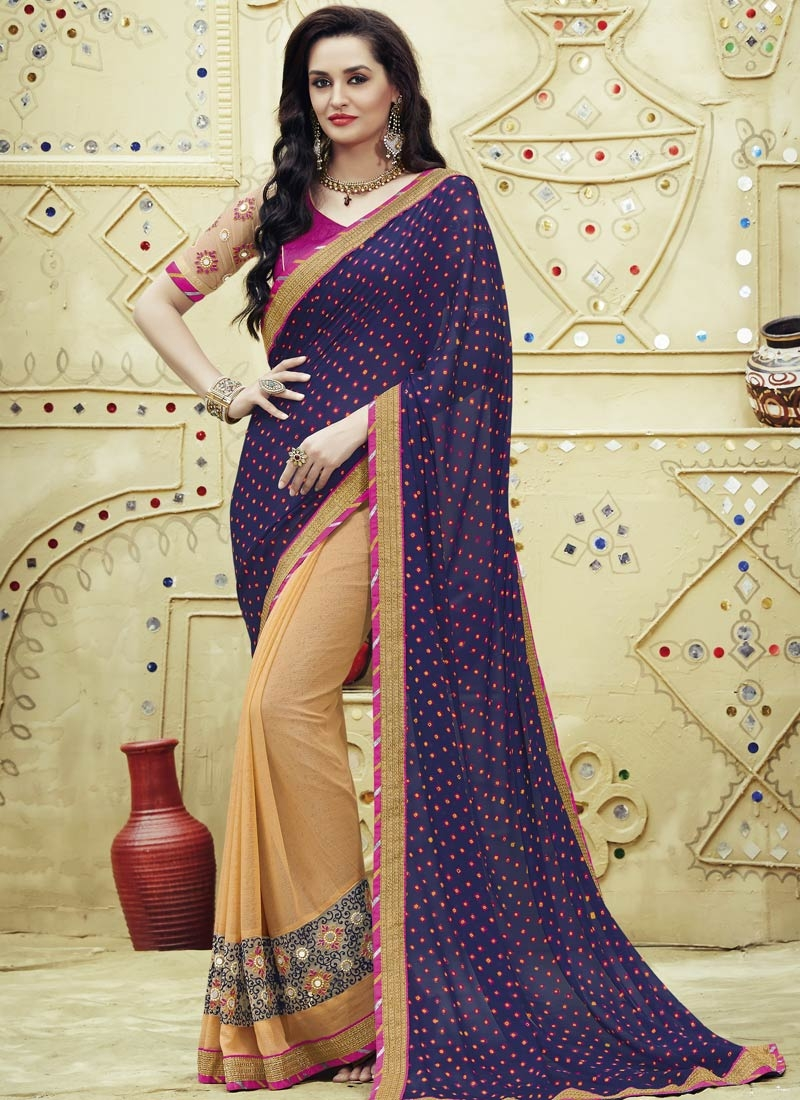 Exceeding Mirror Work Faux Chiffon Half N Half Party Wear Saree