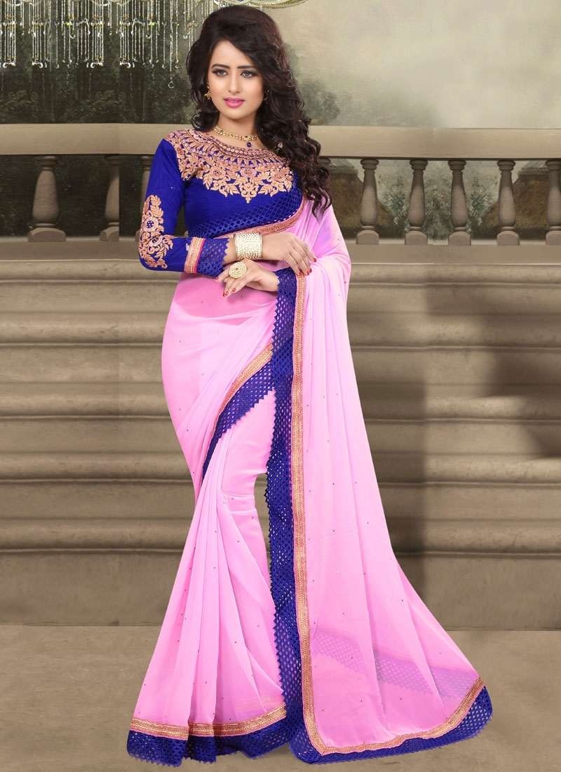 Exceeding Pink Color Resham Work Party Wear Saree