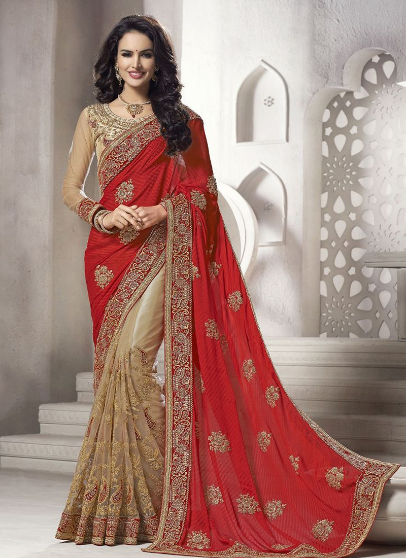 Exceeding Red Color Booti Work Half N half Wedding Saree