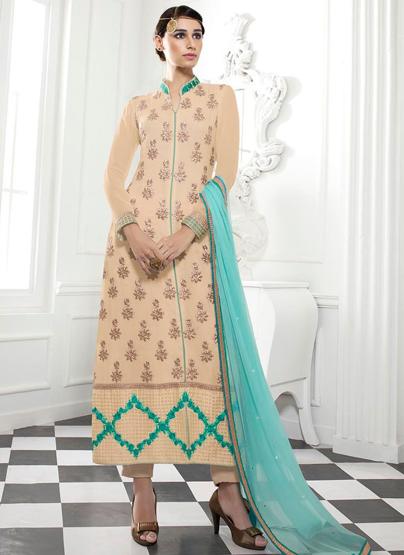 Exceeding Resham Work Cream Color Pakistani Suit