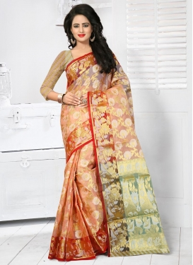 Exceeding Resham Work Tissue Contemporary Style Saree For Festival