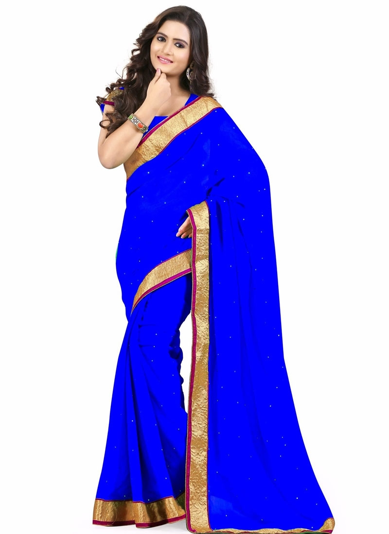 Exceeding Stone Work Blue Color Casual Saree