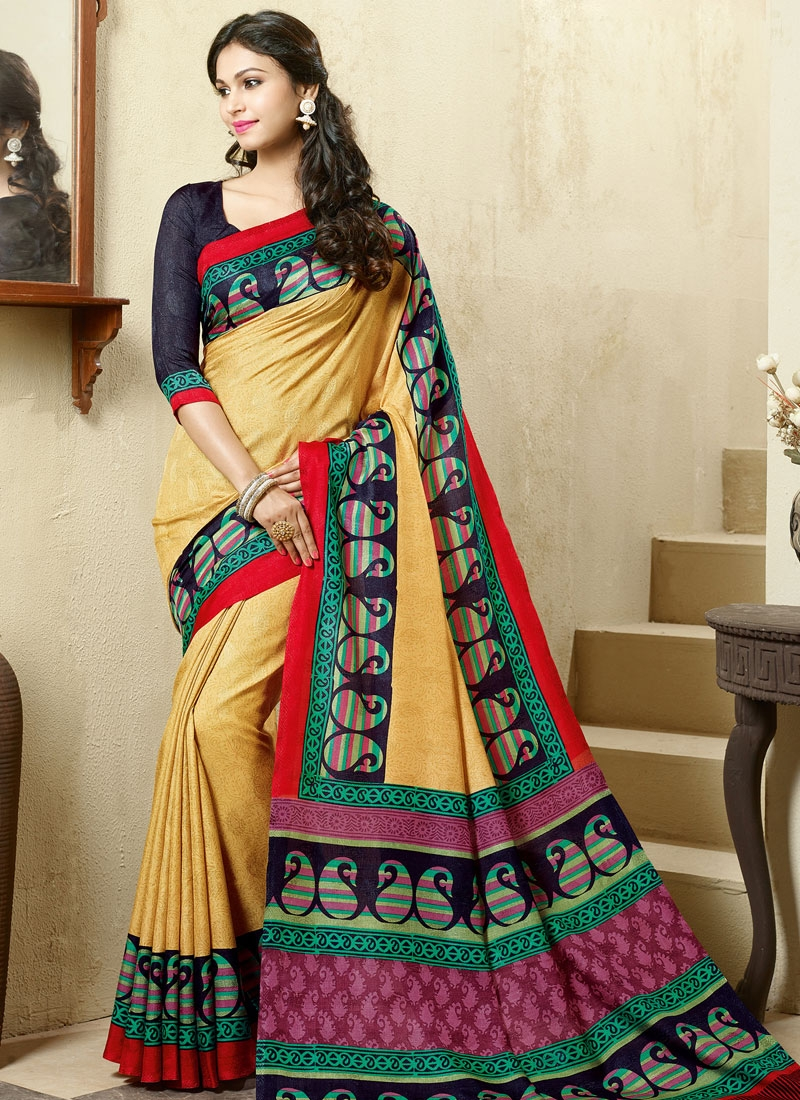 Excellent Art Silk Printed Casual Saree