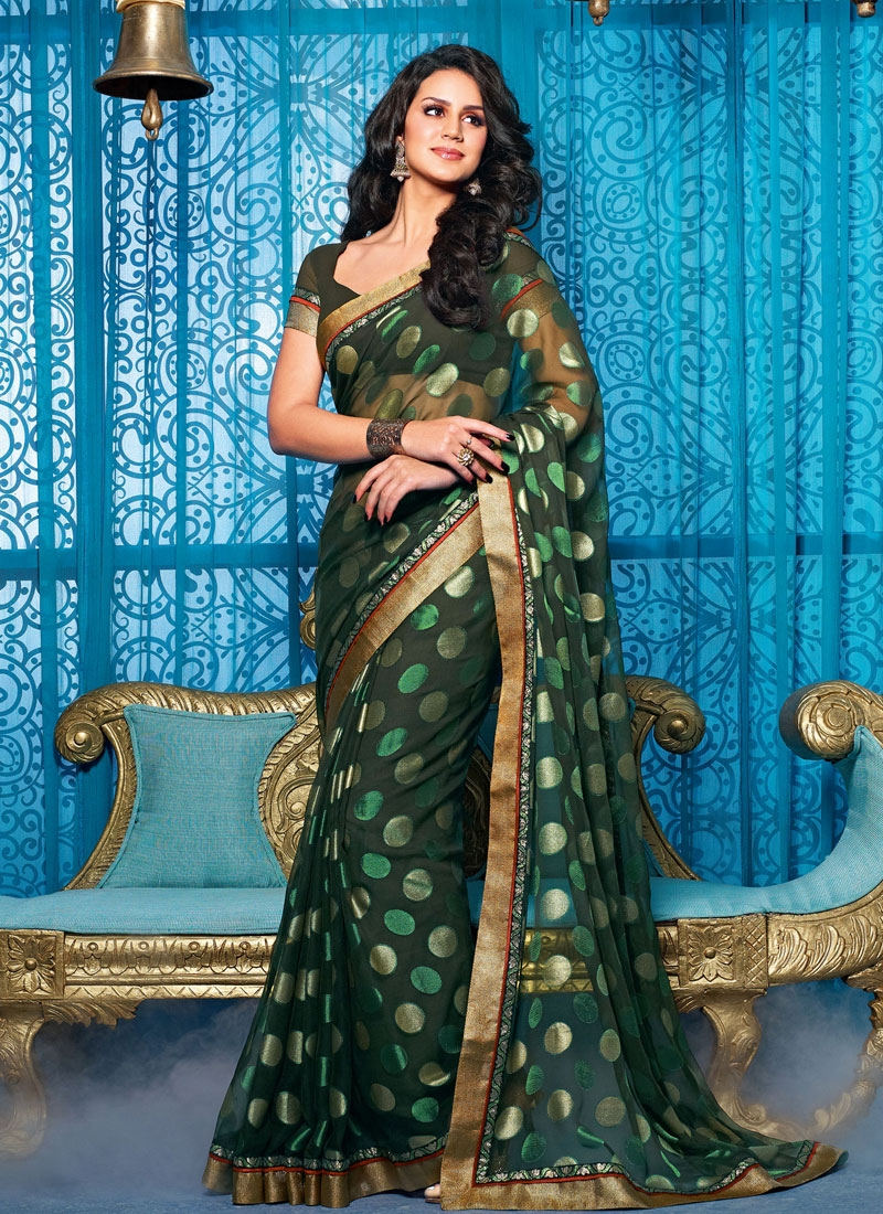 Excellent Bottle Green Color Polka Dotted Casual Saree