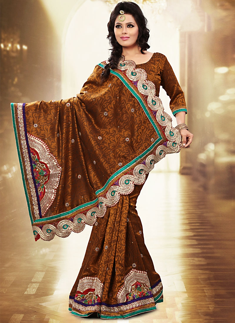 Excellent Brown Resham And Floral Work Saree