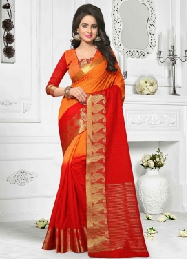 Excellent Cotton Silk Orange and Red Trendy Classic Saree