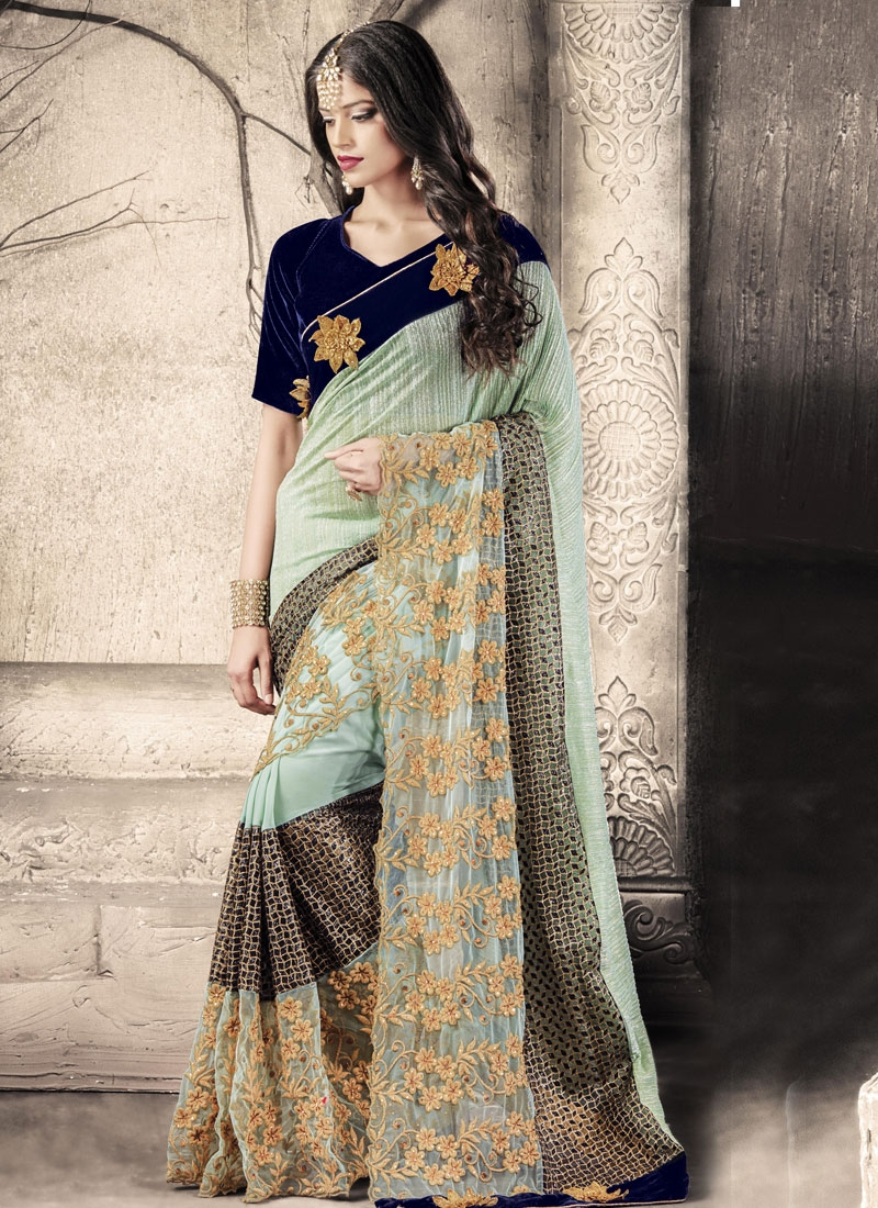 Excellent Embroidery Work Net Designer Saree