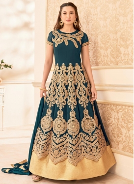 Excellent Faux Georgette Gauhar Khan Long Length Anarkali Salwar Suit