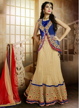 Excellent Floral And Lace Work Wedding Lehenga Choli