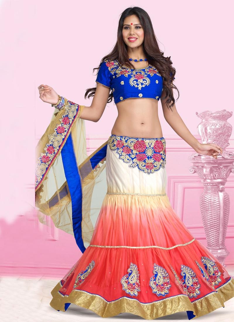 Excellent Floral Enhanced Net Lehenga Saree
