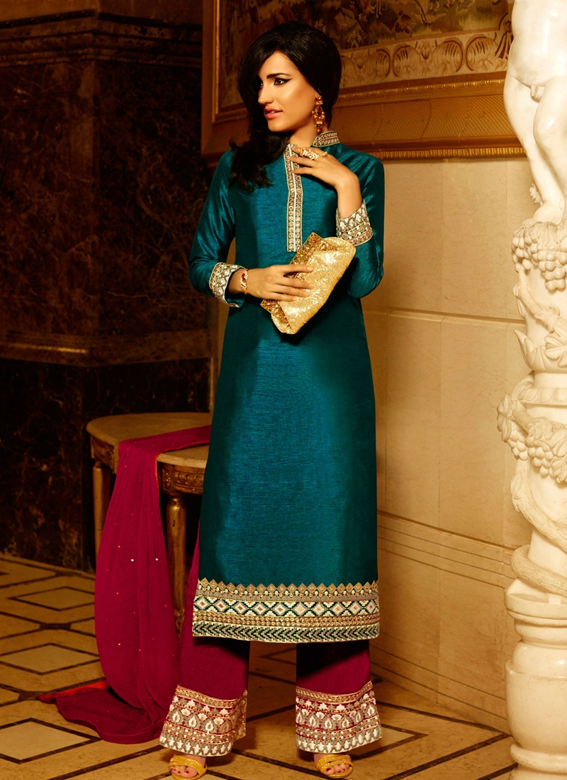 Lace Work Art Raw Silk Palazzo Style Designer Suit