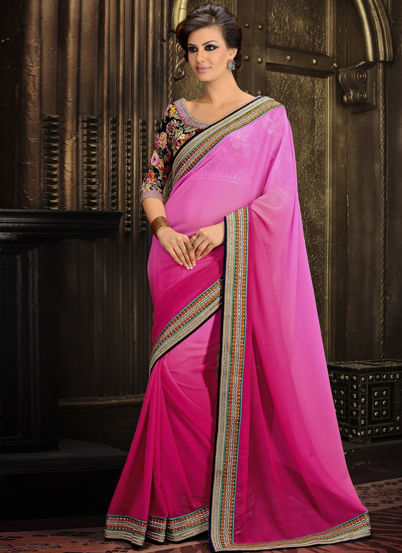 Excellent Magenta And Pink Color Party Wear Saree
