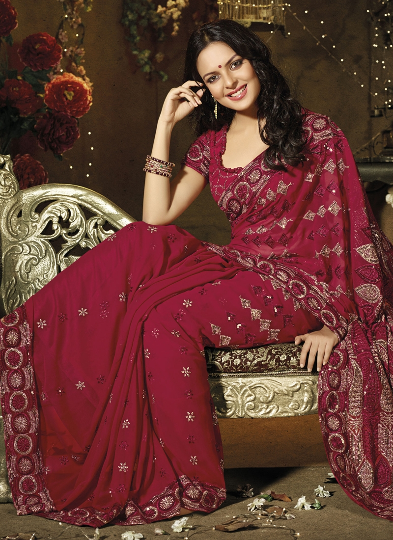 Excellent Maroon Embroidered Casual Saree