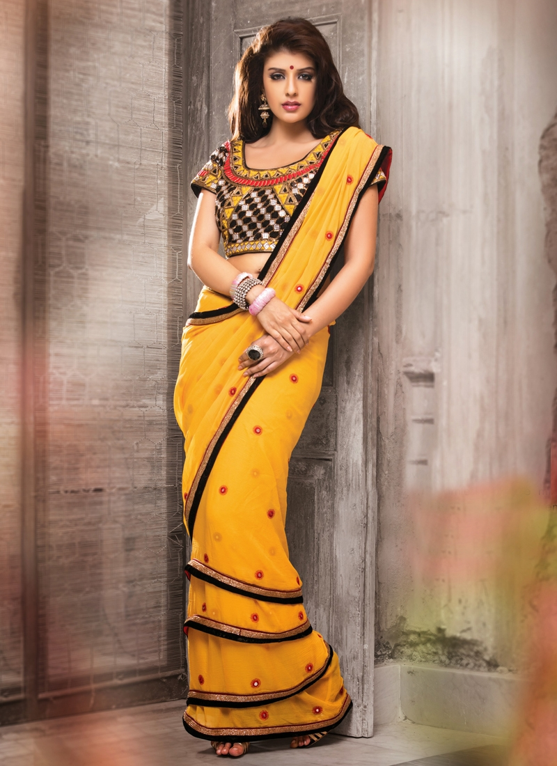 Excellent Mirror Work Georgette Designer Saree