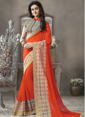 Excellent Orange Color Resham Work Party Wear Saree