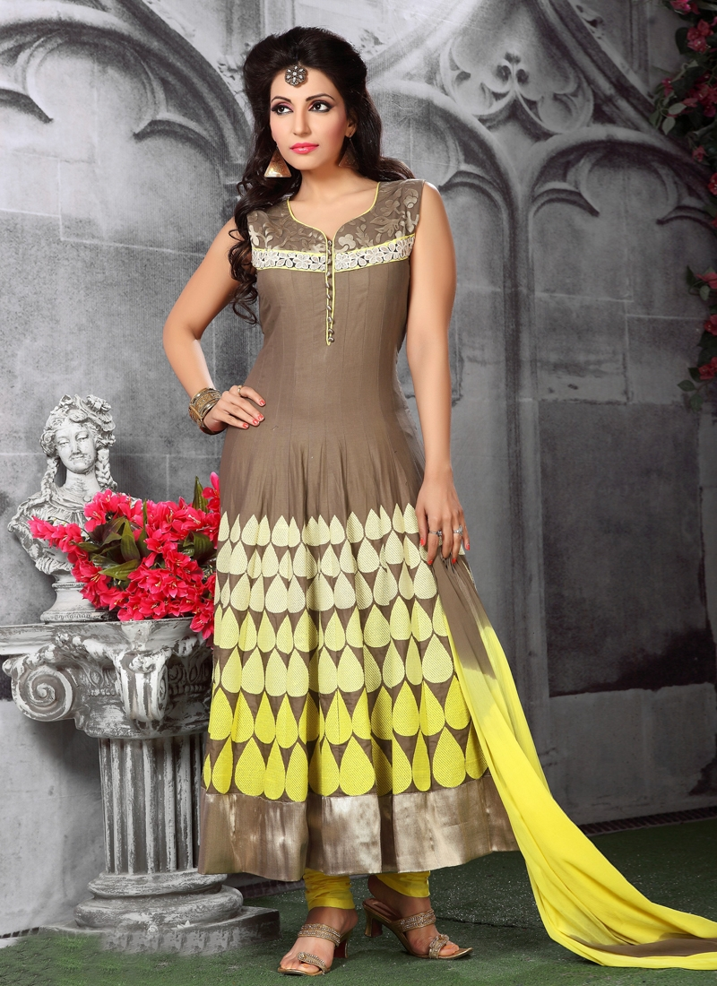 Excellent Patch Work Readymade Anarkali Suit