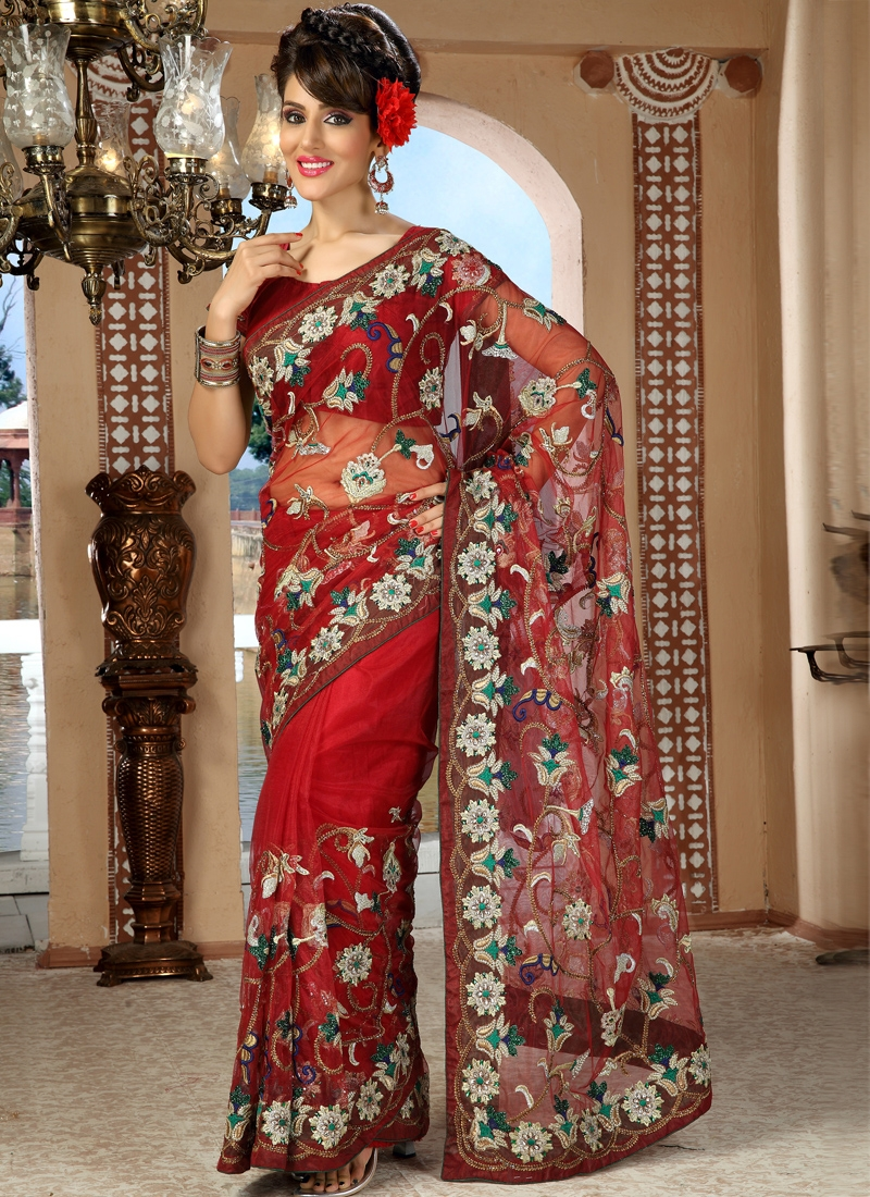 Excellent Red Color Net Saree