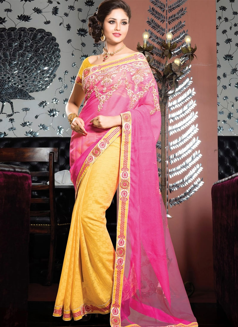 Excellent Resham And Jaal Work Half N Half Designer Saree