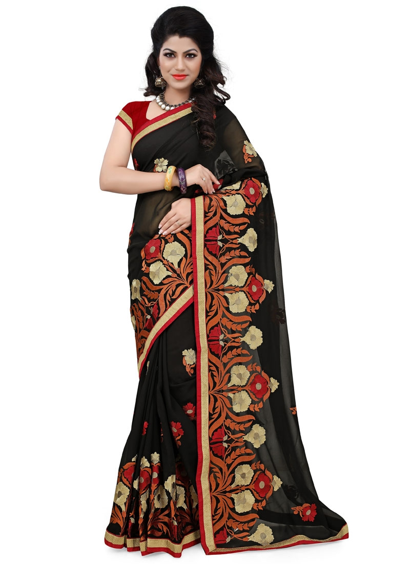 Excellent Resham Work Faux Georgette Party Wear Saree