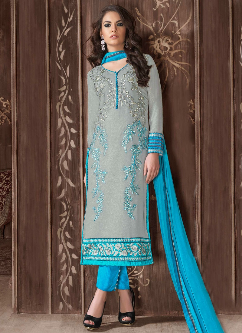 Excellent Resham Work Pant Style Pakistani Salwar Suit